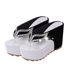 12b33c1396b4e8 Women Platform Flip Flops Rhinestone Wedge Heel Shoes Patchwork Woman  Summer Sandals Shoes P5d20