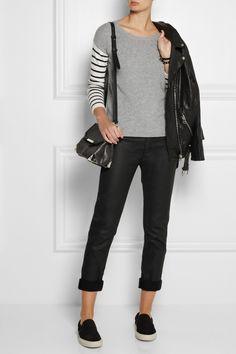 Splendid Striped-sleeve knitted sweater NET-A-PORTER.COM