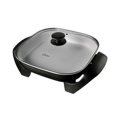 """Oster DuraCeramic \"""" Square Electric Skillet in Black/Silver,... (110 SAR) ❤ liked on Polyvore featuring home, kitchen & dining, cooking appliances, electric grills, electric skillet, griddles, kitchen, waffle makers and oster"""