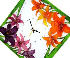 Lilies Glass Clock FREE WORLDWIDE DELIVERY glass by GlasssMagic  Glass Painting.