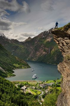 Geiranger Fjord, Norway Fjord - n. A long, narrow inlet of the sea, bordered by steep cliffs, and carved by glacial action.