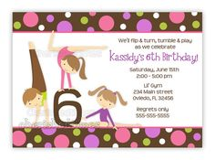 Gymnastics Girl Birthday Party Invitation With Picture or Without (U Print)..Boy available in this design. $14