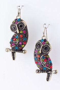Sweet Crystal Owl Earrings on Emma Stine Limited