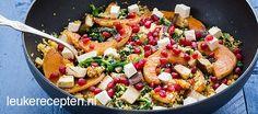 Couscous met pompoen - Leuke recepten Pasta Salad, Cobb Salad, Party Snacks, Couscous, Paella, Finger Foods, Food Inspiration, Foodies, Nom Nom