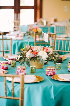 Wedding decor Teal and gold! Pefect by the ocean at Baja Cantina ...