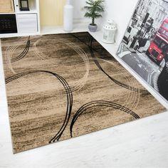 Klassischer Wohnzimmer Teppich sehr dicht gewebt Kreisel Muster Meliert in Braun - VIMODA, Maße:200x290 cm