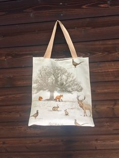 Excited to share the latest addition to my #etsy shop: Winter woodland tote, oilcloth shopping bag, waterproof bag, animal print tote #bagsandpurses #laminatecotton #rainproof #shoppingbag #waterresistant #animalprint #winterwoodland #shoppingtote