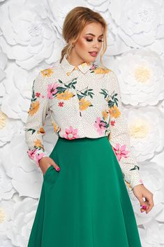 StarShinerS white elegant flared women`s shirt slightly transparent fabric with floral print, easy cut, long sleeves, nonelastic fabric, thin fabric, slightly transparent fabric, with buttons Blouse Outfit, S Shirt, Casual Chic, Size Clothing, Shirt Blouses, Lace Skirt, High Waisted Skirt, Curvy, Floral Prints
