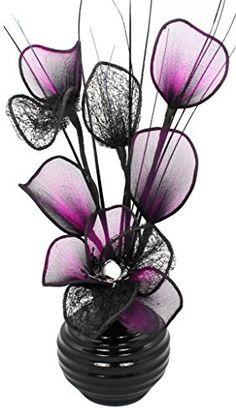 Flourish 32 cm 813 Vase with Nylon Mesh Mini Flower in Thick Wire, Black/Purple, http://www.amazon.co.uk/dp/B00N8MWBDG/ref=cm_sw_r_pi_awdl_j3Onwb166KMQ7