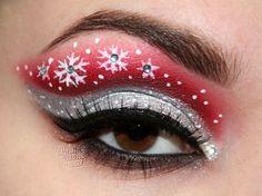 Red & Silver Snowflake Eye Makeup Art