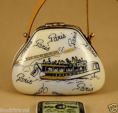 NEW-FRENCH-LIMOGES-BOX-PARIS-MONUMENTS-PURSE-BAG-CREDIT-CARD-LEATHER-HANDLE