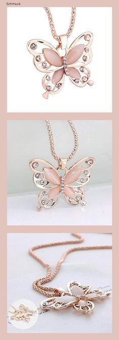 Mode Frauen Pullover Halskette Strass Anhänger Halskette Charme Lange Kette Halskette Halsschmuck für Damen Mädchen von SamGreatWorld, Schmetterling - 14g1