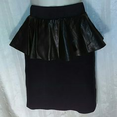 "BEBE SKIRT-SIZE M-NWT-VERY NICE LOOKING -Bebe Skirt -Leatherette Prelim Skirt -Size Medium -Brand New with Tags -Skirt is 18"" in length, from top to bottom -6"" zipper in the back, middle -6"" wide Faux leather ruffle is around the whole top of the skirt -Stretchy black knit on bottom of skirt -Shell: 85% Rayon, 13% Nylon, 2% Spandex -Contrast: 100% Faux Leather Bebe Skirts Midi"