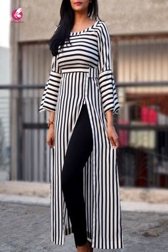 Black and White Stripes Crepe Kurti - Kurtis Online in India Muslim Fashion, Modest Fashion, Hijab Fashion, Fashion Dresses, Kurti Designs Party Wear, Kurta Designs, Blouse Designs, Stylish Dress Designs, Stylish Dresses