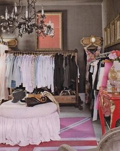Country Living - dark grey walls in spare bedroom turned walk-in closet Dressing Room Closet, Closet Bedroom, Closet Space, Dressing Rooms, Dressing Area, Master Closet, Spare Room Closet, Closet Paint, Huge Closet