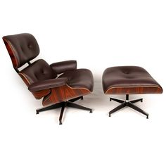 Wallace Sacks, Eames Inspired Lounge Chair & Ottoman, Brown Leather £599 thru ACHICA