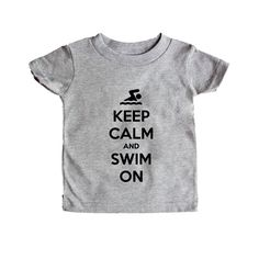 Keep Calm And Swim On Swimming Swimmer Pool Beach Sport Sports Sporty Gym Exercise Exercising Fitness SGAL7 Baby Onesie / Tee