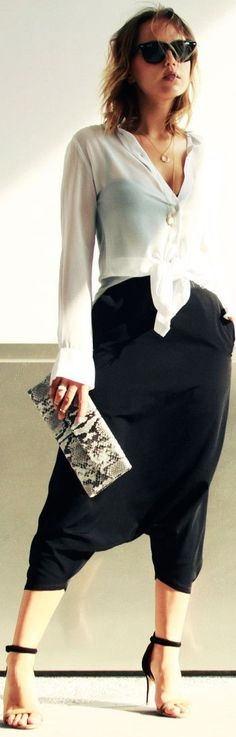 Custom Made Black Crop Harem Pants by The Glamourai