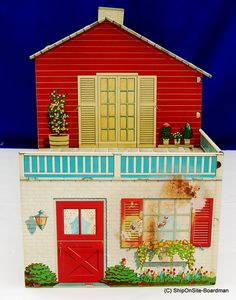 Vintage Marx Toys Tin Litho Two Story Doll House with 37 Pieces of Furniture | eBay