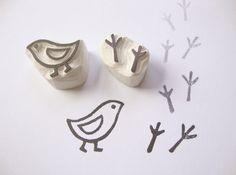 Bird and Bird Tracks Hand Carved Rubber Stamp Set di eatpraycreate, $6.75