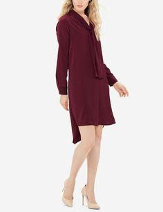 V-Neck Shift Dress | Bow Shirt Dress | THE LIMITED