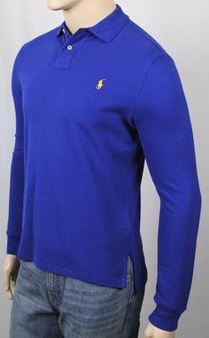 Polo Ralph Lauren Royal Blue Custom Fit Mesh Long Sleeve Shirt NWT 02d6795b8