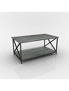 Weathered Grey Oak Finish Metal X-Design Wooden Cocktail Coffee Table Shelf ❤ eHomeProducts