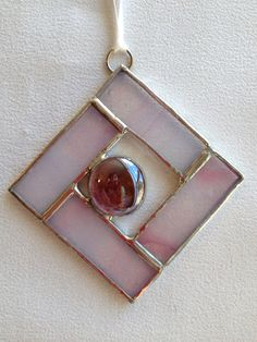 Stained Glass Ornament  Square with Glass Gem by MamaAgees on Etsy, $6.00