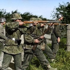 """the_ww2_memoirs Waffen SS soldiers from the Leibstandarte """"Adolf Hitler"""" engage Soviet forces somewhere on the Eastern Front, summer, date unknown but most likely after 1943. One of them is using a presumably captured Soviet SVT-40, one of the greatest rifles of the war. The Germans used Soviet weaponry so much that ammunition was made to be used in both German and Soviet weaponary. Manuals were also handed out on how to operate Soviet weapons like the SVT-40 and PPSH-41. You can see some of…"""