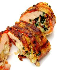 Stuffed, bacon-wrapped, grilled chicken breast