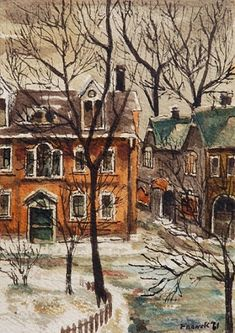 Isabella Street, Old Toronto Watercolor Art Lessons, Watercolor Sketch, Watercolor City, Fire Painting, Painting Snow, Winter Landscape, Landscape Art, Small Paintings, Winter Art
