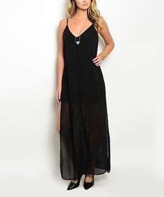 Look at this Forever Lily Black Cutout V-Neck Maxi Dress on #zulily today!