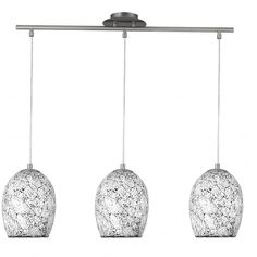 modern 3 light pendant bar with white crackle mosaic glass shade