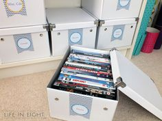 IHeart Organizing: Reader Space: A Happy Home Office (link to printable labels, too)