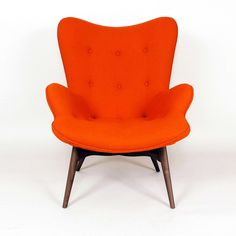 Paddington Lounge Chair - Apricot Orange (solid walnut wood, orange wool blend fabric [85% wool + 15% nylon], stainless steel) (Mid-Century Classics Collection at Dot & Bo)
