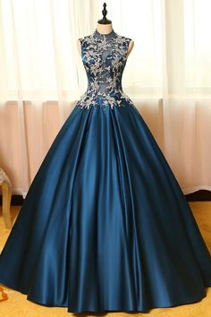 Peacock Blue satin lace applique long prom dress, evening dress