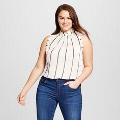 Women's Plus Size Ruffle Trim Shell Cream/Black Stripe (Ivory/Black Stripe) 2X - Who What Wear