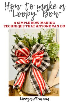 """How to Make a """"Loopy"""" Bow Using a Simple Technique – Lizzy & Erin christmas bows Diy Bow, Diy Ribbon, Ribbon Crafts, Ribbon Bows, Ribbon Flower, Ribbon Hair, Ribbons, Hair Bows, Fabric Flowers"""
