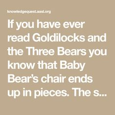 If you have ever read Goldilocks and the Three Bears you know that Baby Bear's chair ends up in pieces. The sad thing is his chair never gets fixed.  Below you will find how students in preschool use the research process to find and build a new chair for Baby Bear. Let me start by … … Continue reading →