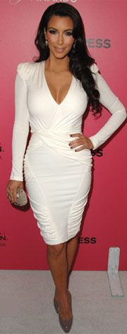 Clothing : Bodycon Dresses : 'Goddess' Curve Accenting White Longsleeve Bodycon Dress