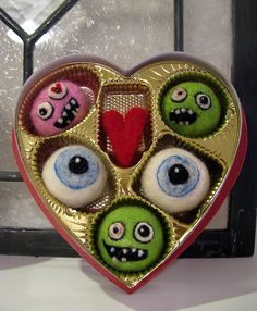 Great use of Valentine candy box! Needle Felted Candy!!