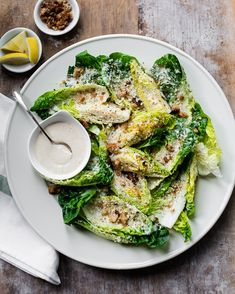 Creamy and lemony tahini caesar salad dressing with little gem romaine lettuce and crunchy olive oil breadcrumbs #vegetarian #salad #healthy