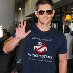Jensen in an awesome Ghostbusters/Winchesters shirt. Ghostbusters x Supernatural
