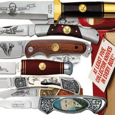 "Each Surprise Mystery Box contains a combination of fixed-blade bowie knives and folding-blade pocket knives and has a total retail value of more than $150. The bowie knives range in size from 5"" to 11"" long, the pocket knives from 6"" to 7 3/8"". Every item comes with American Mint's Satisfaction Guarantee and includes a Certificate of Authenticity. Bullion Coins, Silver Bullion, Collector Knives, The Collector, Platinum Metal, Bowie Knives, Collectible Knives, Types Of Gold, Coins For Sale"