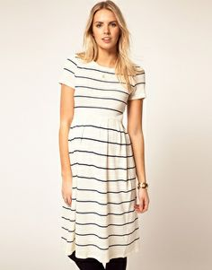 Maternity Knitted Midi Dress in Stripe