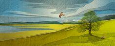 Illustriertes Keyvisual fürs Corporate Design. Version Frühling. Corporate Design, Angst, Grafik Design, Illustration, Painting, Pictures, Painting Art, Paintings, Illustrations