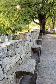 Benches at the Salem Witch Trial Memorial.