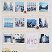 Snapshots of NYC  By *paperandglue*  patterned paper, letter stickers, label stickers, die-cut star (October Afternoon); cardstock, stamps, ink (American Crafts), punch (Fiskars), font (Courier New), buttons, twine.