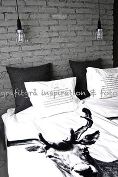black and white bedroom.  graphic.  crisp.