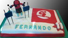 Tarta esquiador decorada con fondant / Skier cake